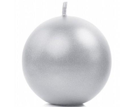 Metallic kuglelys 8 cm. Sølv