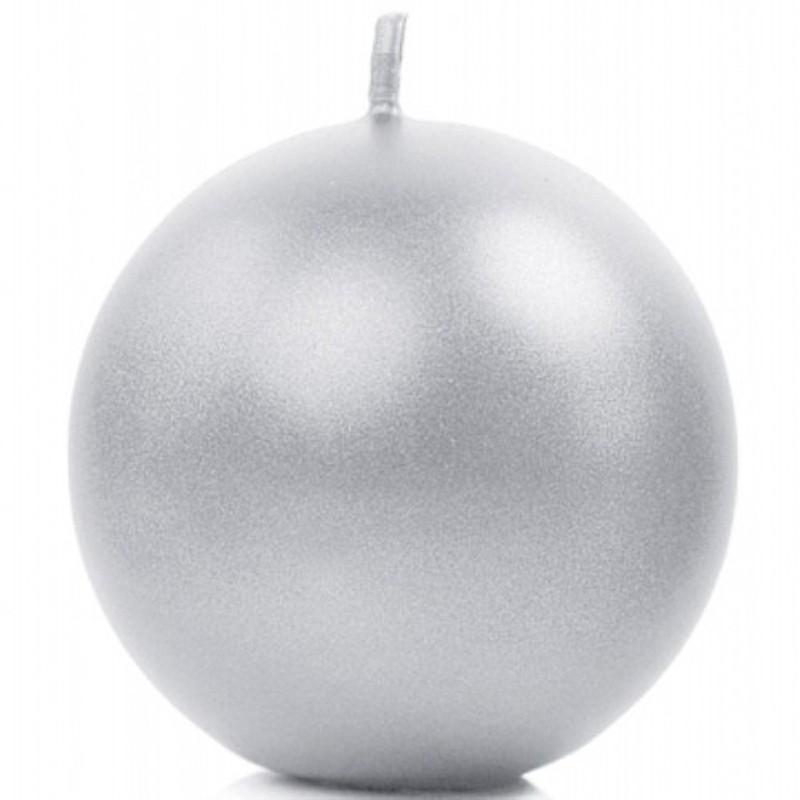 Billede af Metallic kuglelys 8 cm. Sølv