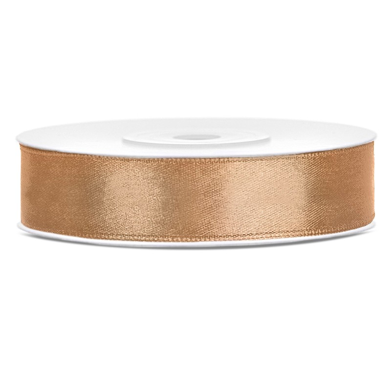 Satinbånd 12mm x 25m Guld - Glat silkelook