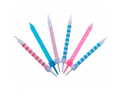 6 stk. Pastelfarvede m. prikker og striber fødselsdagslys