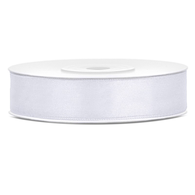 Satinbånd 12mm x 25m Hvid - Glat silkelook