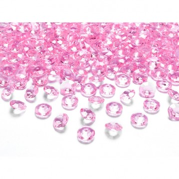 Pynte diamanter 100 stk. Lys Pink 12mm.