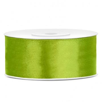 Satinbånd 25mm x 25m Lime - Glat silkelook