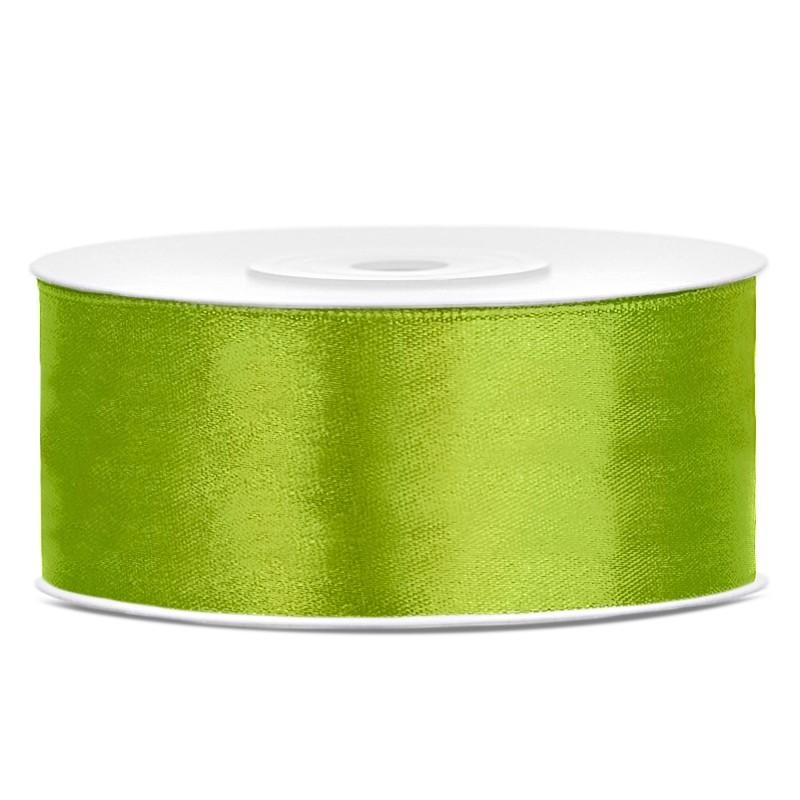 Billede af Satinbånd 25mm x 25m Lime - Glat silkelook