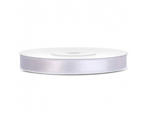 Satinbånd 6mm x 25m Hvid - Glat silkelook