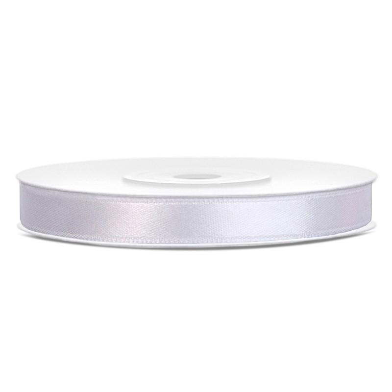 Billede af Satinbånd 6mm x 25m Hvid - Glat silkelook