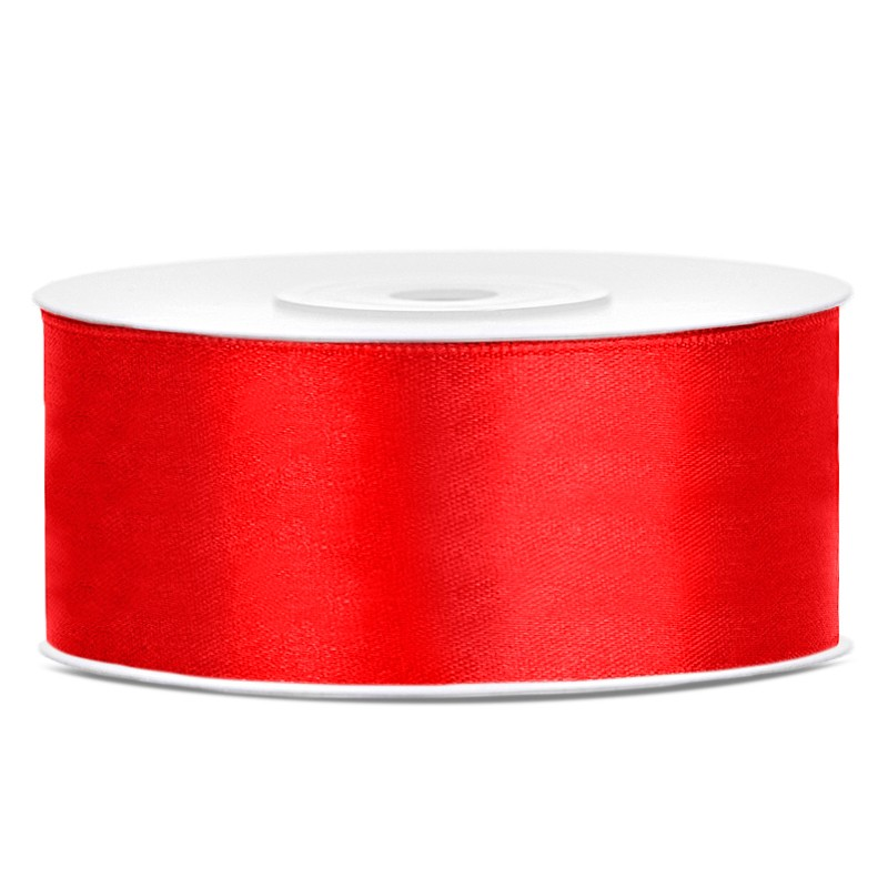 Satinbånd 25mm x 25m Rød - Glat silkelook
