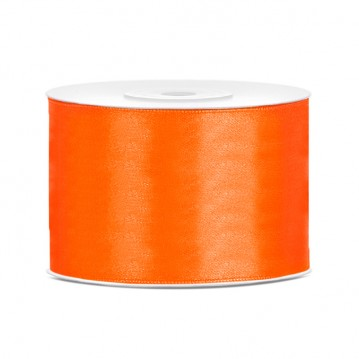 Satinbånd 50mm x 25m Orange - Glat silkelook
