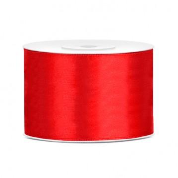 Satinbånd 50mm x 25m Rød - Glat silkelook