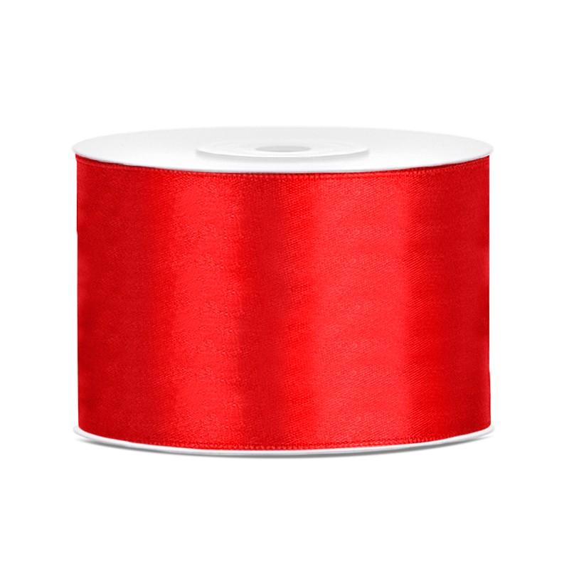 Billede af Satinbånd 50mm x 25m Rød - Glat silkelook