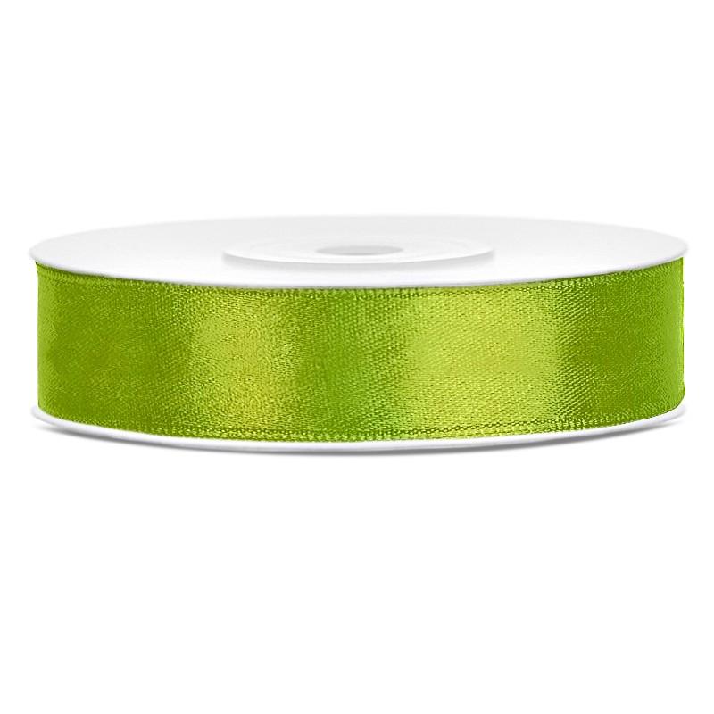 Satinbånd 12mm x 25m Lime - Glat silkelook