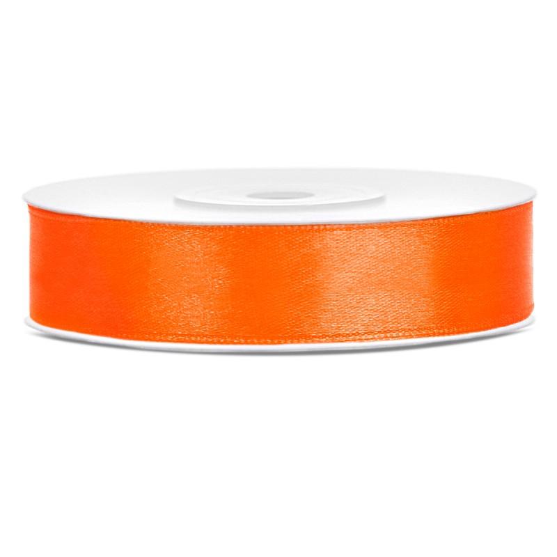 Satinbånd 12mm x 25m Orange - Glat silkelook