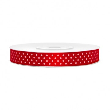 Satinbånd 12mm x 25m Rød med prikker