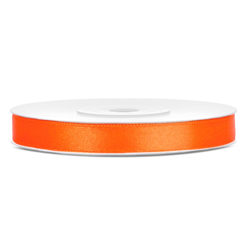 Billede af Satinbånd 6mm x 25m Orange - Glat silkelook