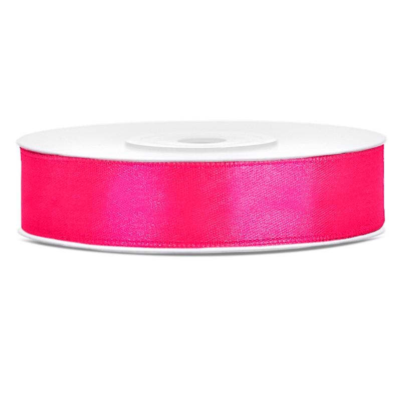 Satinbånd 12mm x 25m Mørke Pink - Glat silkelook