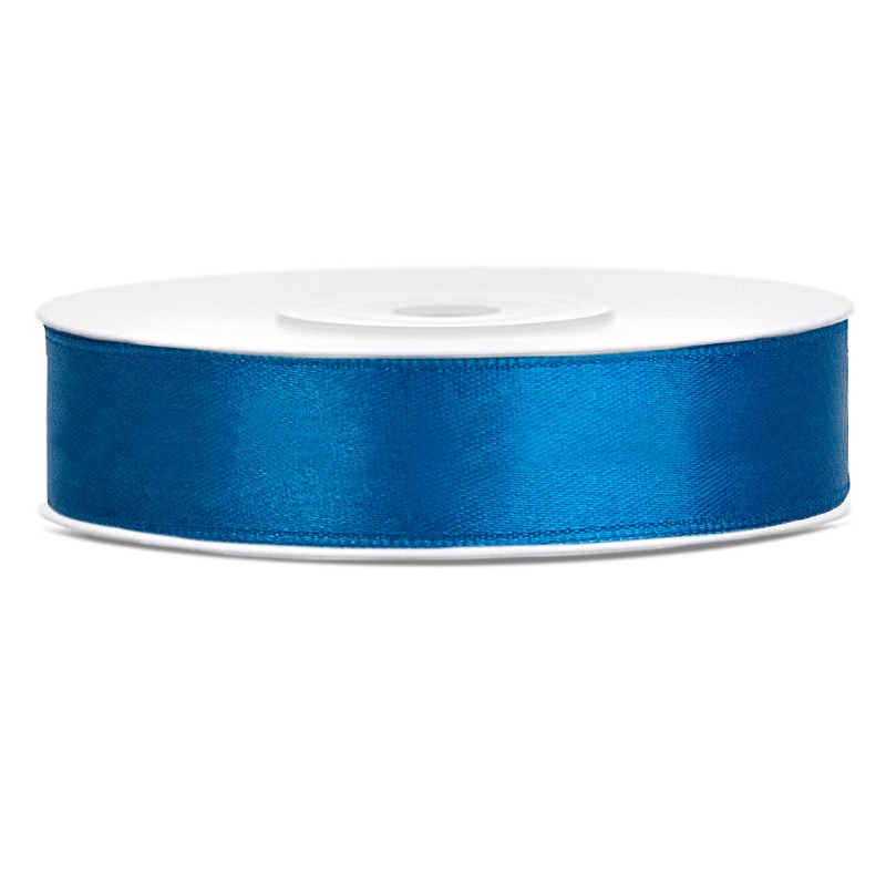 Billede af Satinbånd 12mm x 25m Blå - Glat silkelook