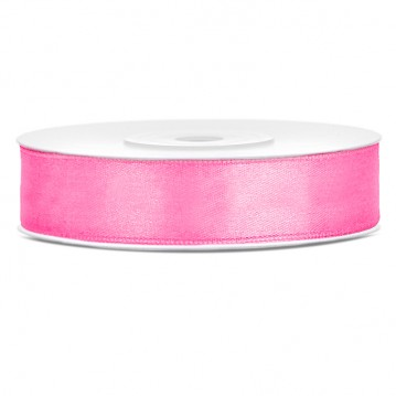 Satinbånd 12mm x 25m Pink - Glat silkelook