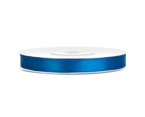 Satinbånd 6mm x 25m Blå - Glat silkelook