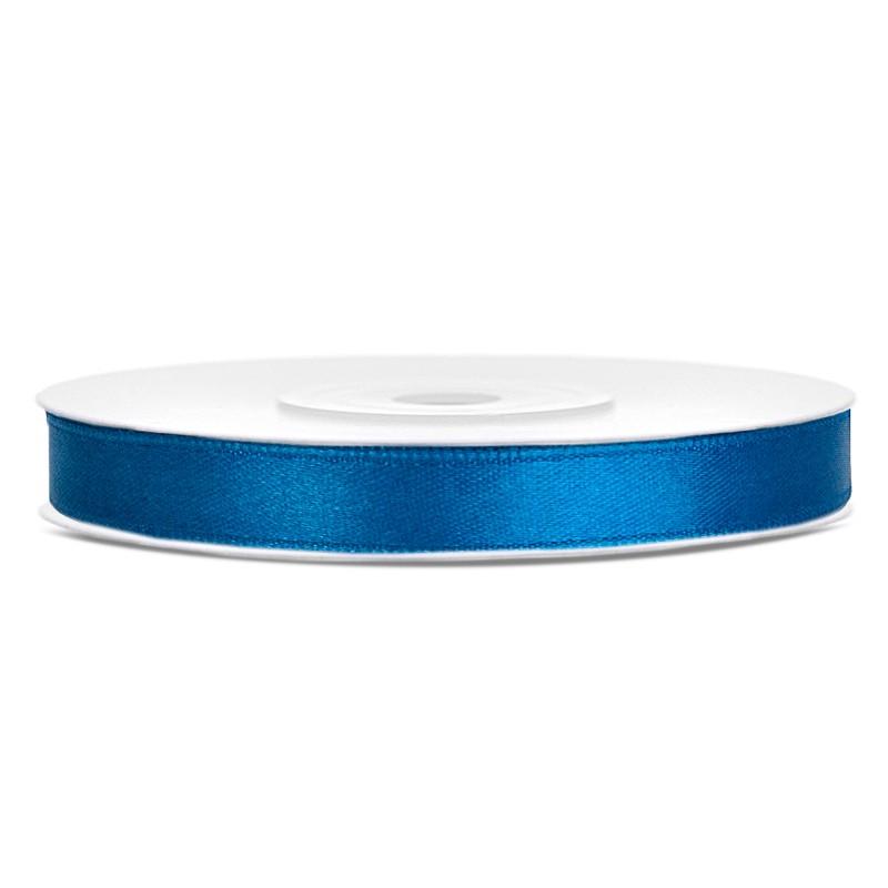 Billede af Satinbånd 6mm x 25m Blå - Glat silkelook