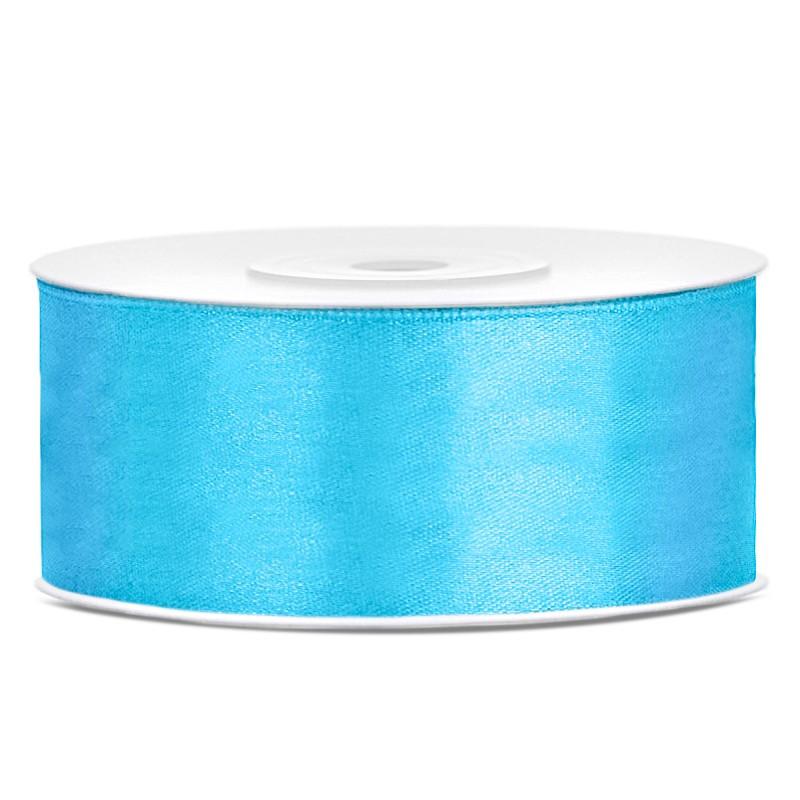 Satinbånd 25mm x 25m Himmelblå - Glat silkelook
