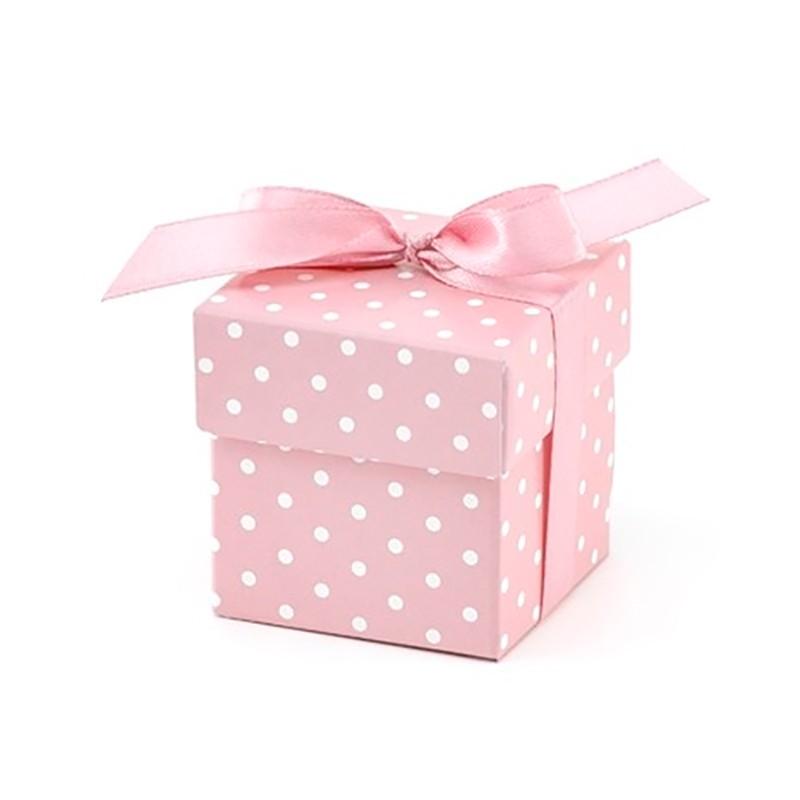 Gaveæske i lyserød til barnedåb - Pige - 10 stk. med bånd