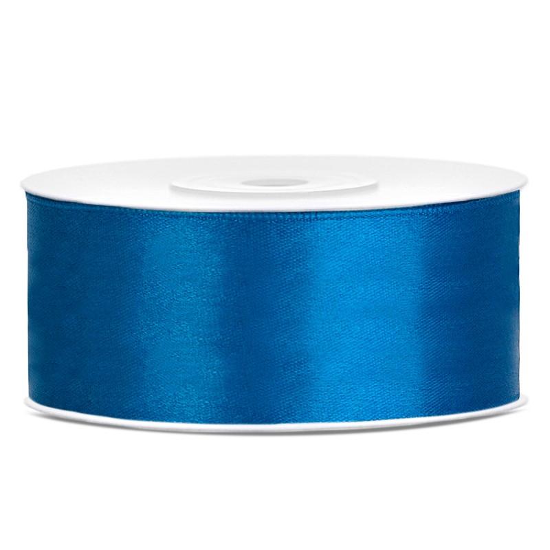 Satinbånd 25mm x 25m Blå - Glat silkelook