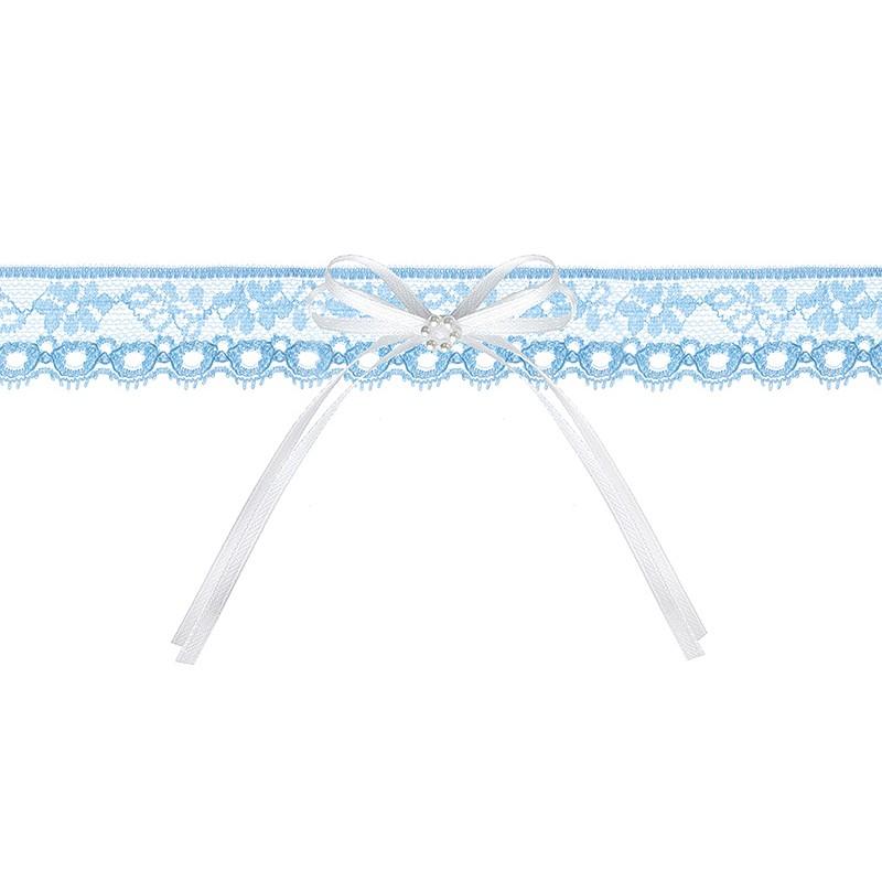 Strømpebånd med hvid sløjfe og hvide perle