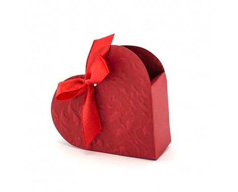 10 stk. Røde hjerte med pynt til gaveæske