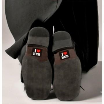 I LOVE HER'' Klistermærker til Gommens sko 2 stk