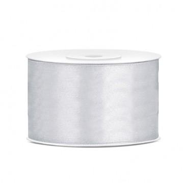 Satinbånd 38mm x 25m Sølv - Glat silkelook