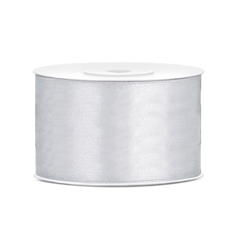 Billede af Satinbånd 38mm x 25m Sølv - Glat silkelook