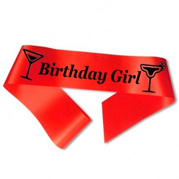 Birthday Girl ordensbånd i rød