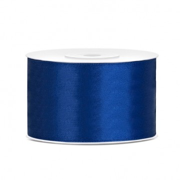 Satinbånd 38mm x 25m Mørke blå - Glat silkelook