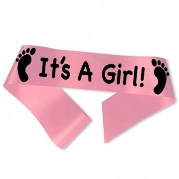 It´s A Girl ordensbånd i pink