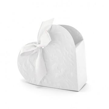 10 stk. Hvid hjerte med pynt til gaveæske