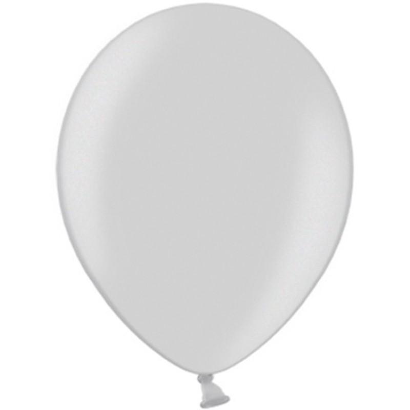 """10 stk Metallic sølv balloner - str 10"""""""