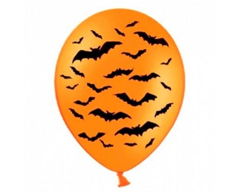 6 Stk Orange balloner med flagermus