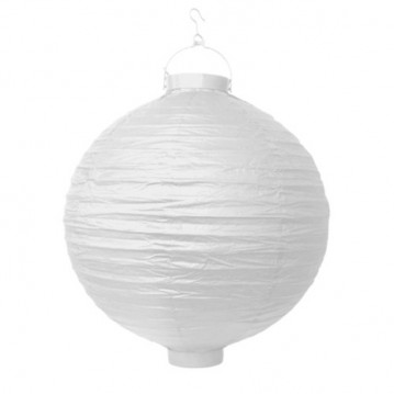 Rispapirlampe med LED lys Hvid 20 cm