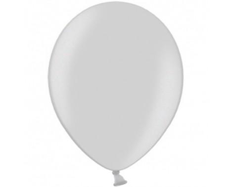 """100 stk Metallic sølv balloner - str 12"""""""