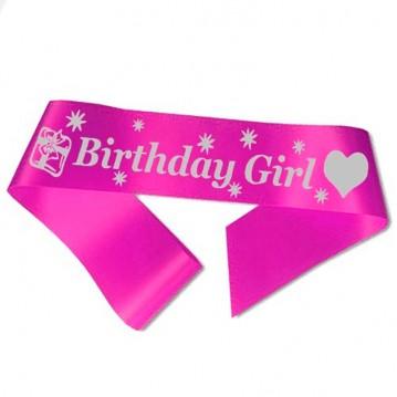 Birthday Girl ordensbånd i fuchsia
