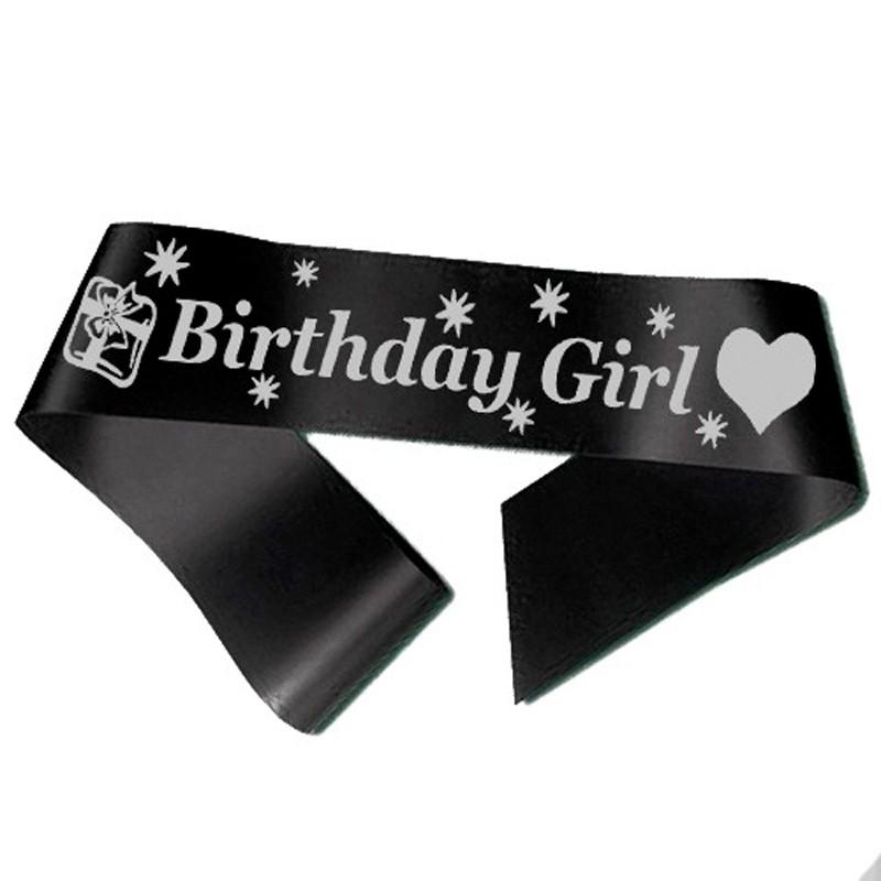 Image of   Birthday Girl ordensbånd i sort