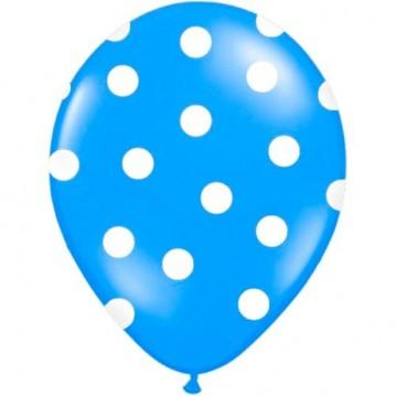 6 stk Blå balloner med hvide prikker