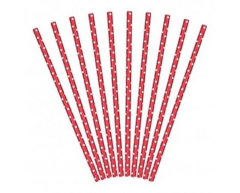 Papirsugerør 10 stk Dots rød - hvid