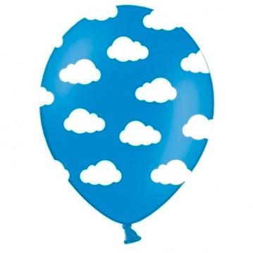 6 stk Blå balloner med hvide skyer