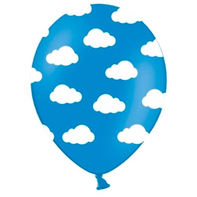 Billede af 6 stk Blå balloner med hvide skyer