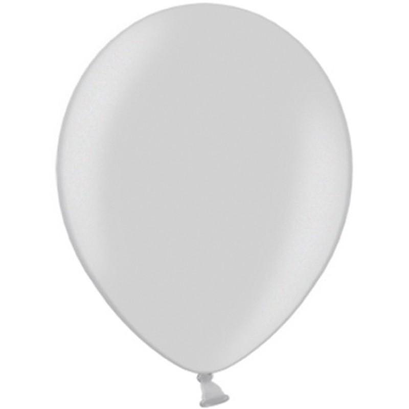 """Billede af 100 stk Metallic sølv balloner - str 10"""""""