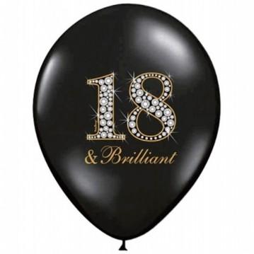 6 stk 18 & Brilliant! fødselsdag balloner