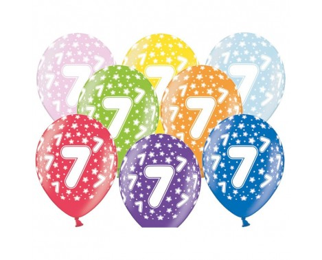 6 stk. 7 års fødselsdag mix metallice balloner