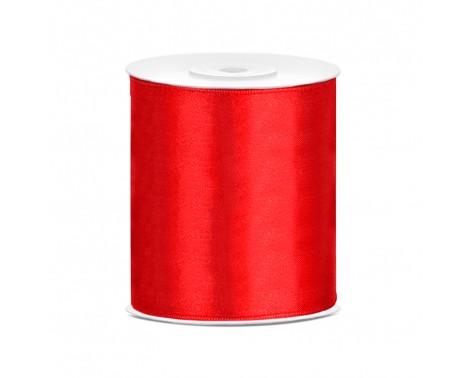 Satinbånd 100mm x 25m Rød - Glat silkelook