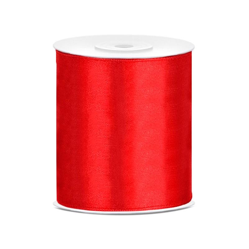 Billede af Satinbånd 100mm x 25m Rød - Glat silkelook